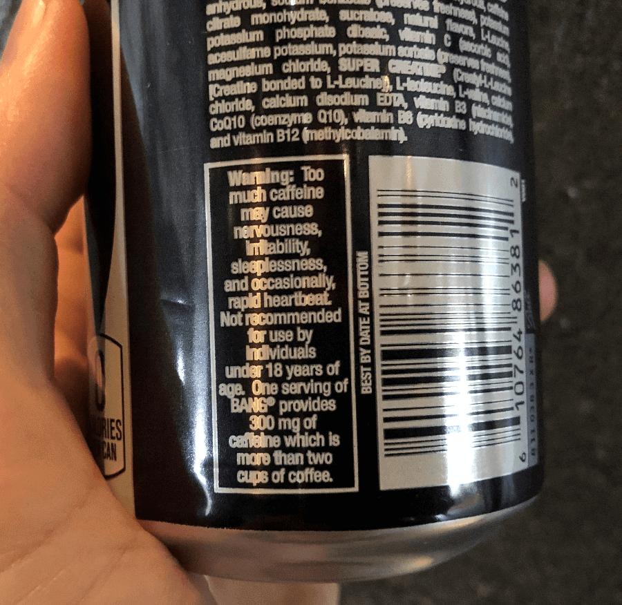 Warning label on Bang