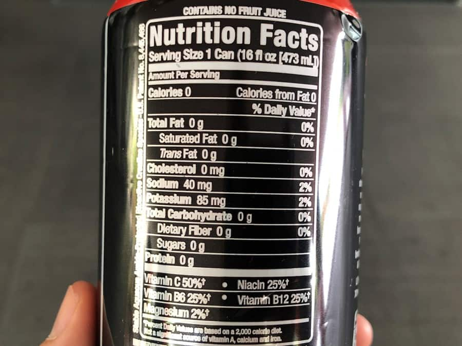 The nutrition facts of a can of Bang energy drink.