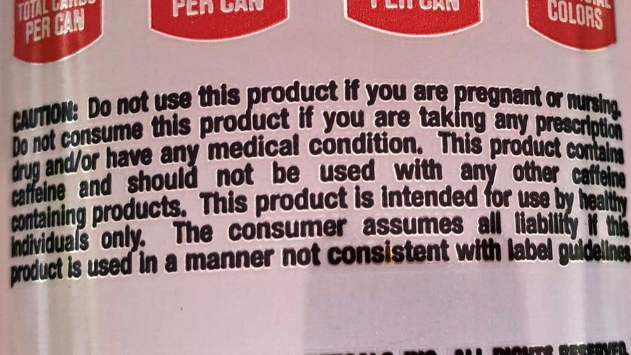 Bang Energy Drink usage warning.