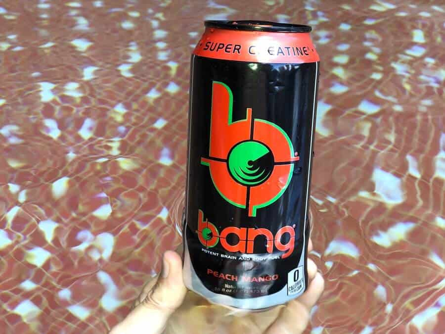 A can of Bang's Peach Mango flavor