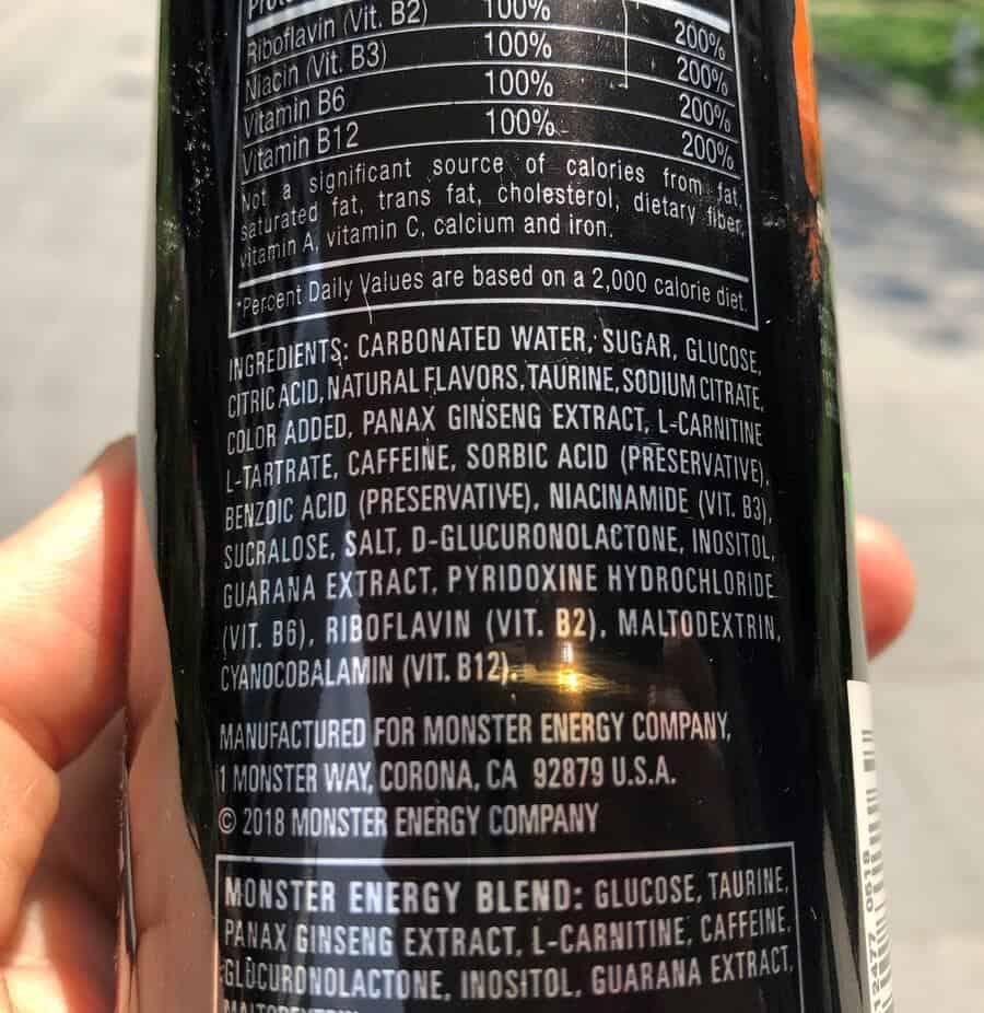 Ingredients label of Monster energy drink.