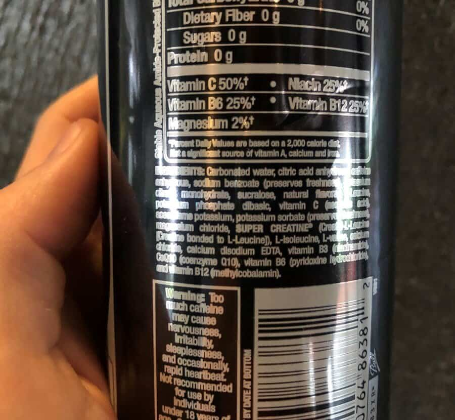 Ingredients label on the back of the can of Bang energy drink