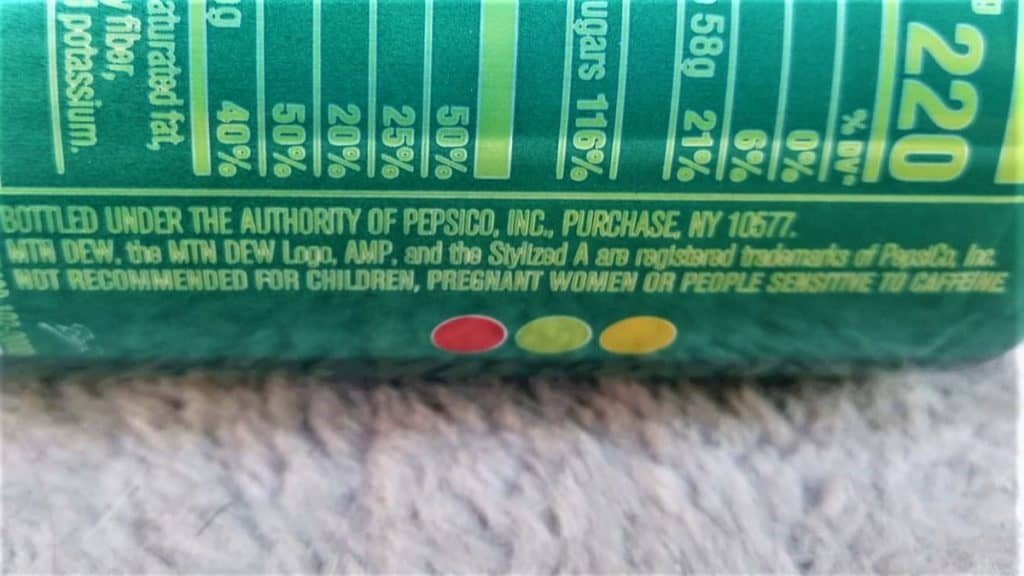 Warning Label on AMP Energy Drink