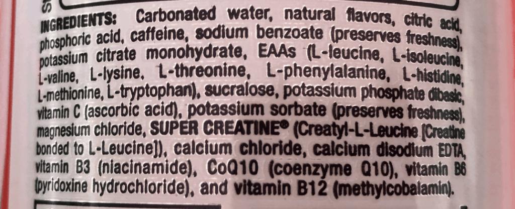 Bang Energy Drink Ingredients Label
