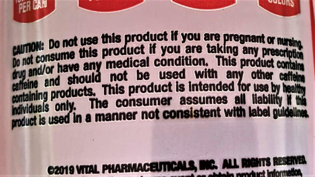 Caffeine warning label for certain individuals.