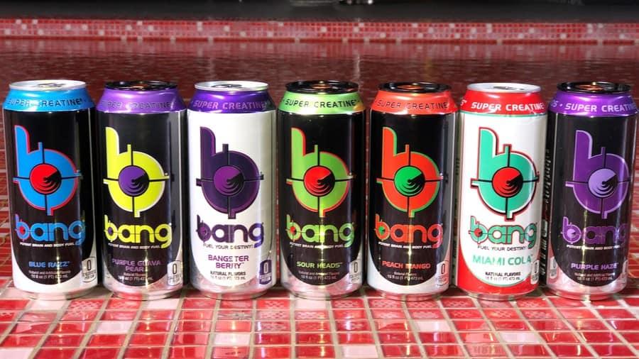 A row of Bang Energy Drinks