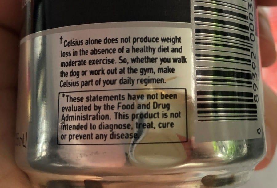 Celsius Fitness Drink Label