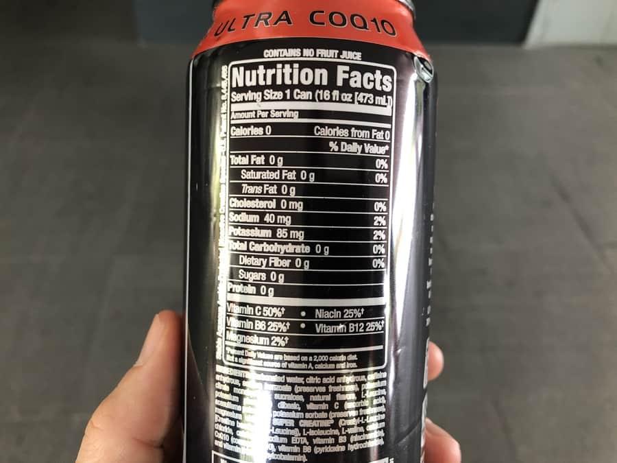 Bang Energy Drink Nutrition Label