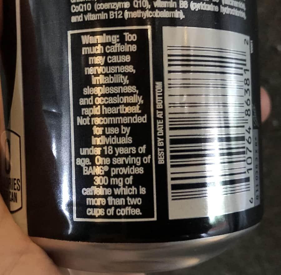 Bang Energy Drink Caffeine Warning Label