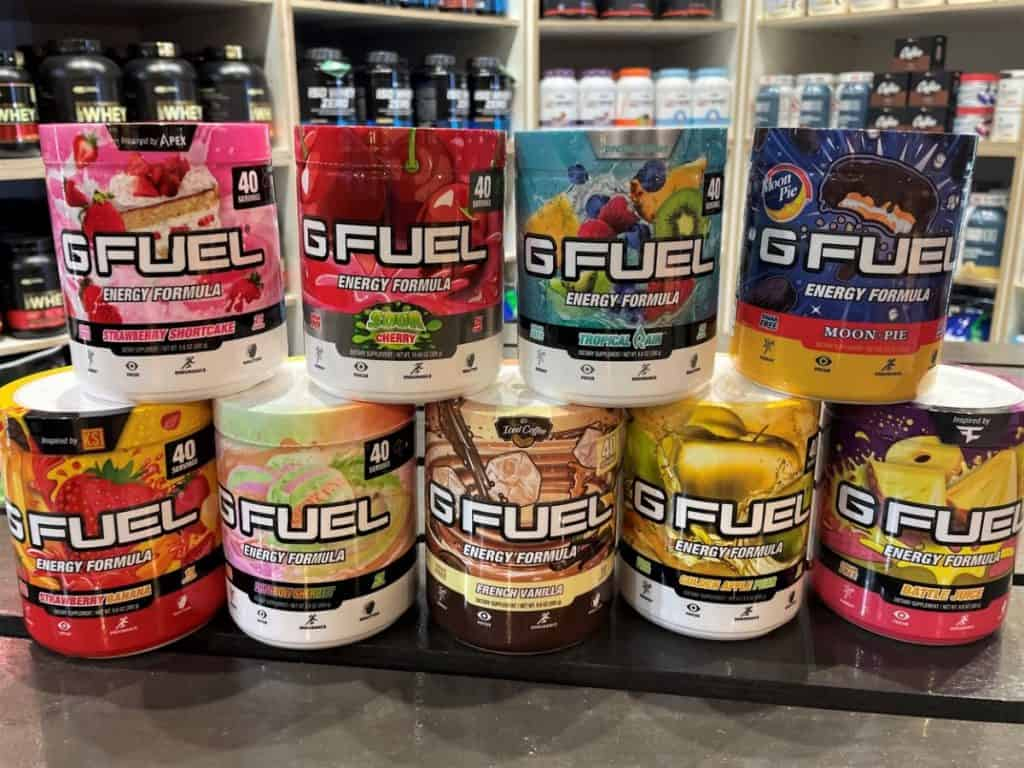 A selection of G Fuel Powder Flavors