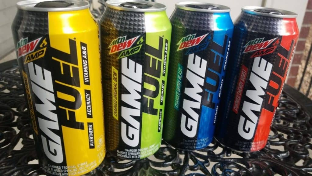 Four cans of Game Fuel energy drinks