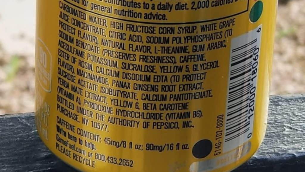 Game Fuel Ingredients