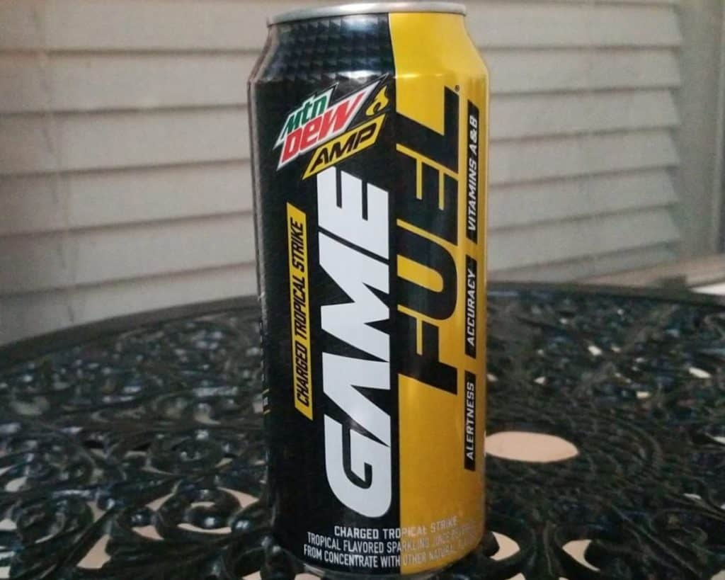 a can of Mountain Dew Game Fuel on the table.