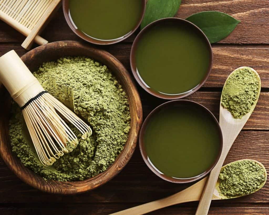 Green tea powder with green tea cups