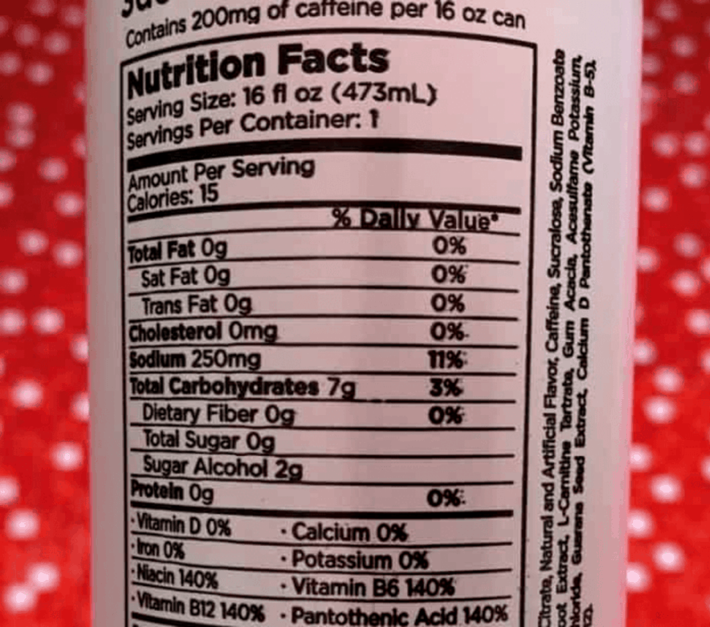 3D Energy Nutrition Facts at the back of the can