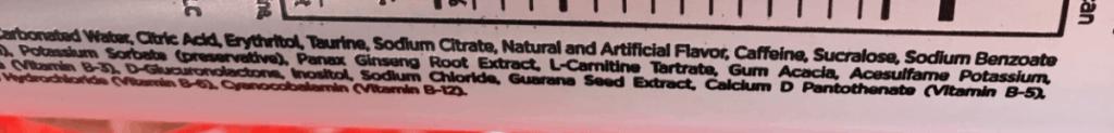 3D Ingredients label