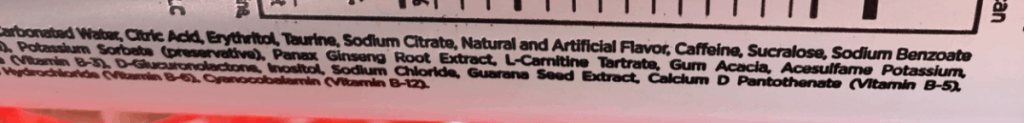 3D Energy Ingredients label at the side of the can