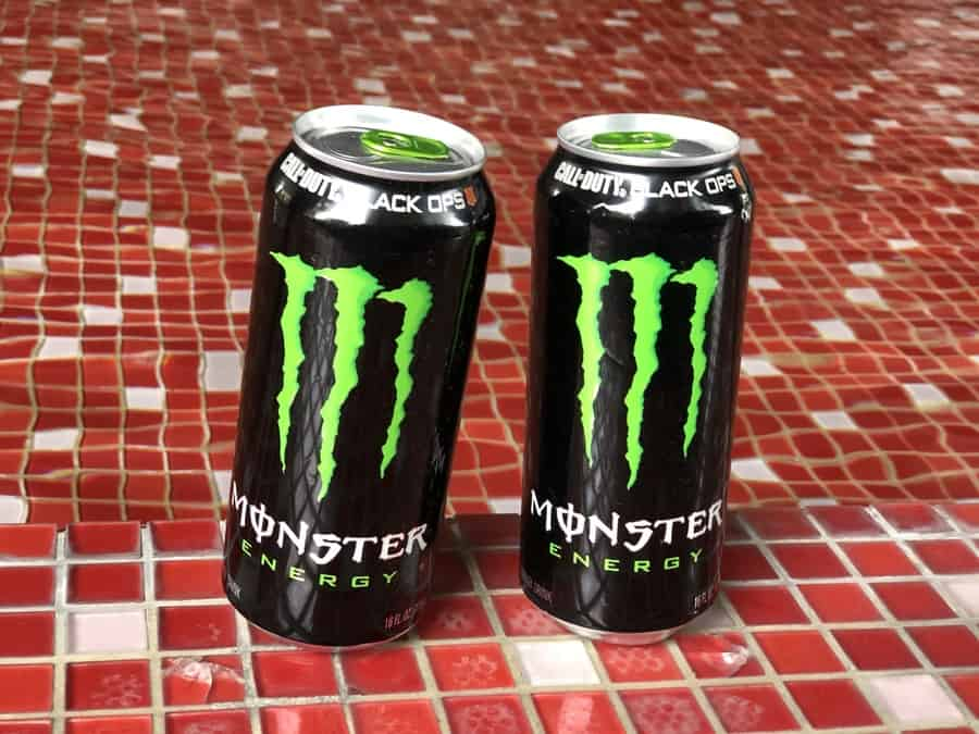 Original monster energy drinks on a table