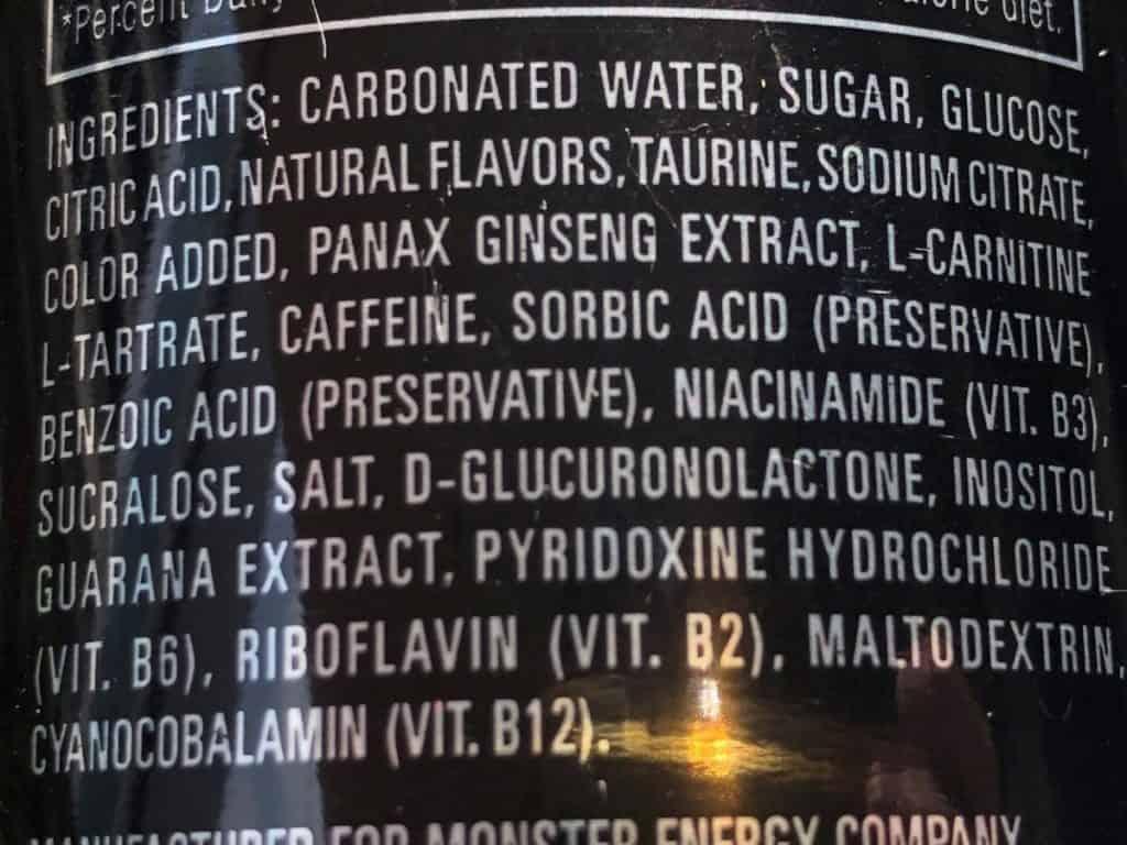 Monster Energy Ingredients List