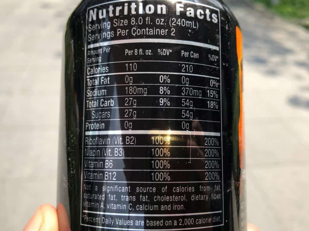 Monster Energy nutrition facts.