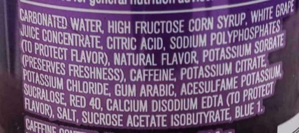 Mountain Dew Kickstart ingredient label