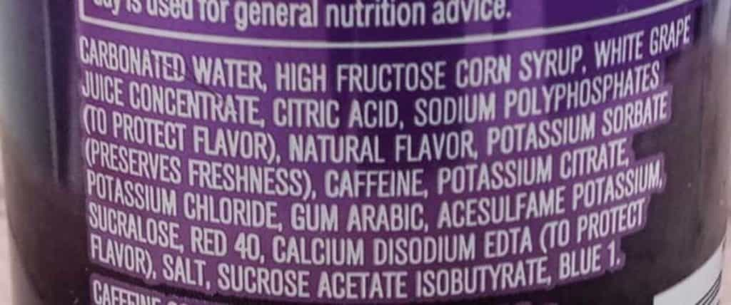 Mountain Dew Kickstart ingredients label