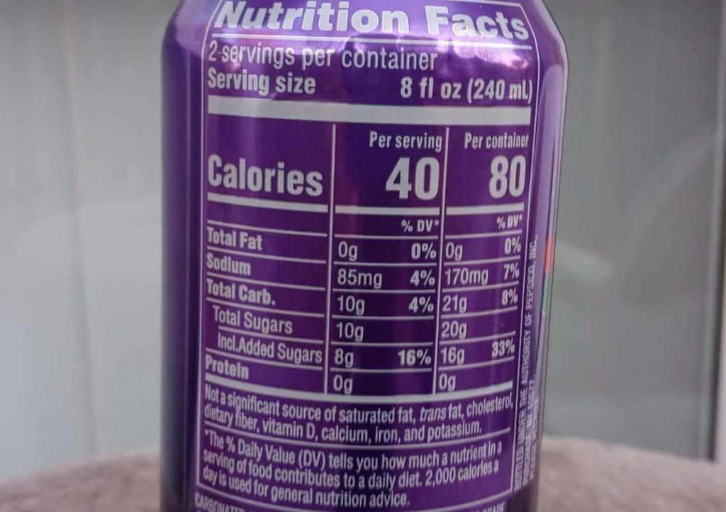 Mountain Dew Kickstart nutritional label
