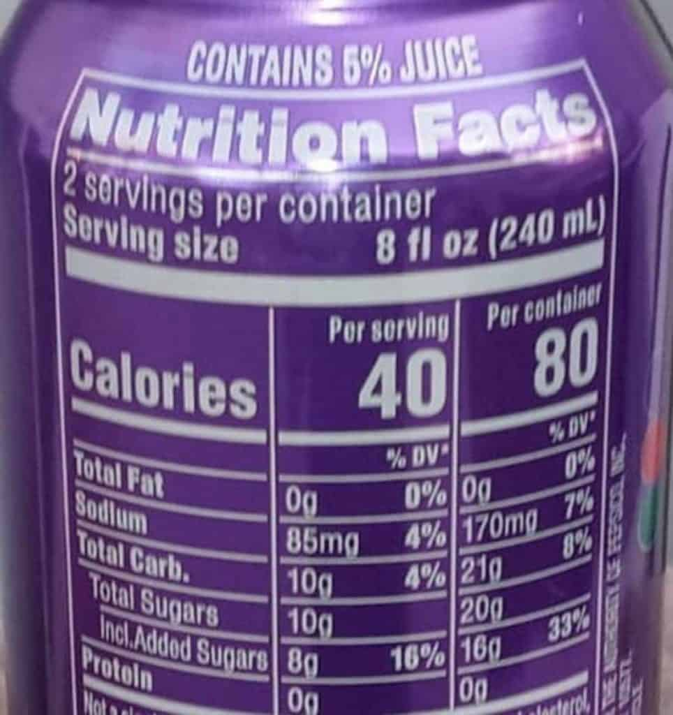 A picture of Mountain Dew Kickstart Nutrition Label