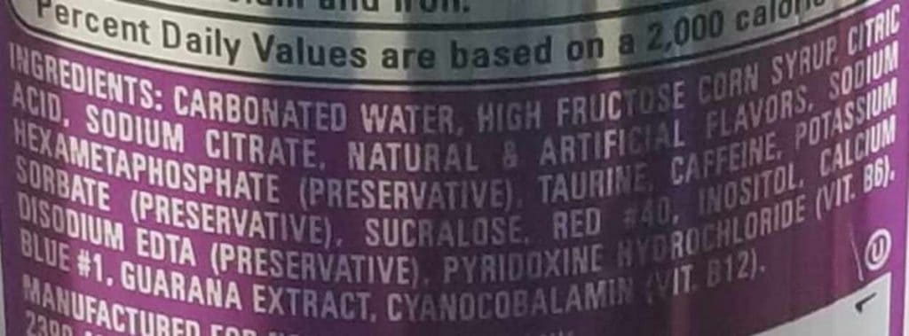 A picture of NOS Energy Drink Ingredients
