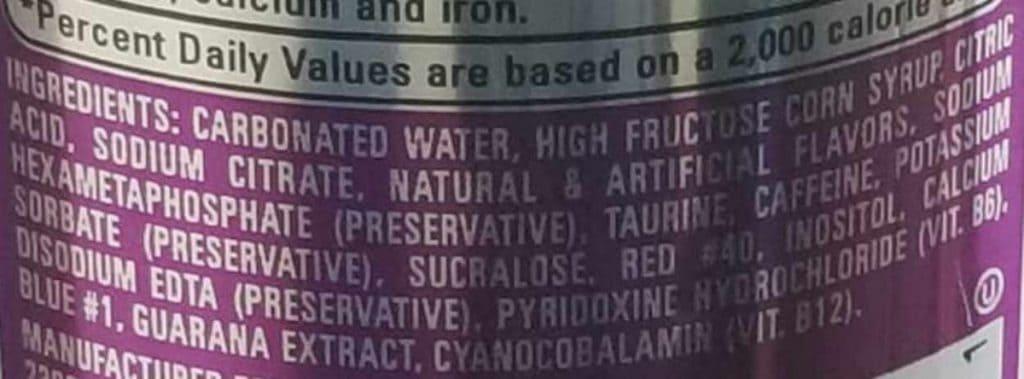 NOS Energy Drink ingredient label