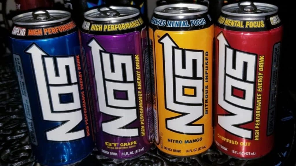 Four Cans of NOS Energy Drink