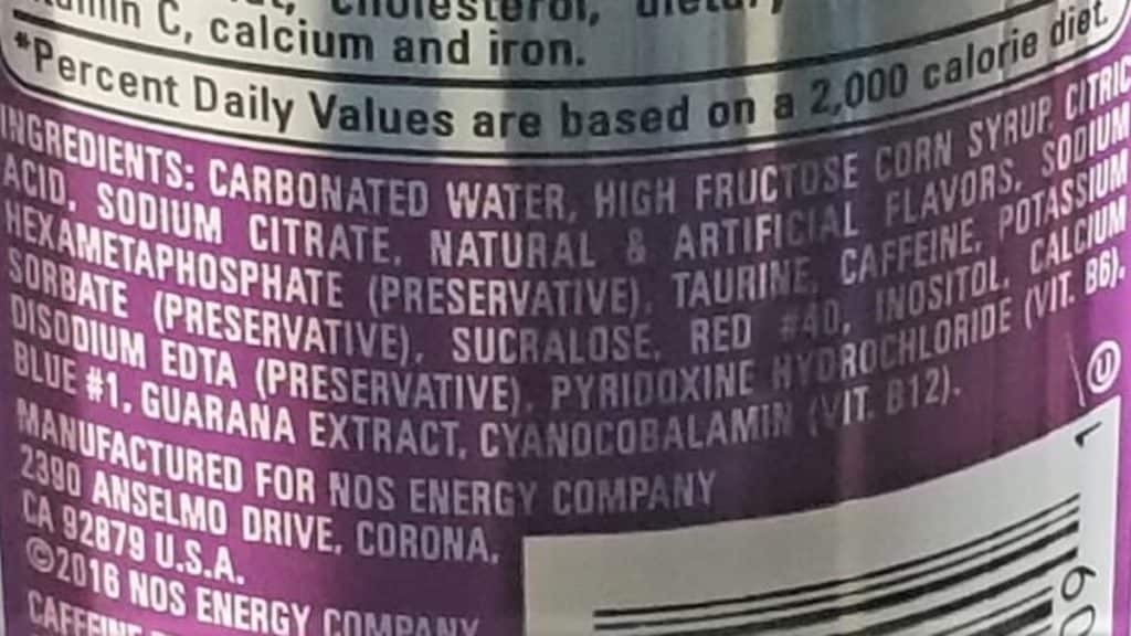 GT Grape Ingredient list