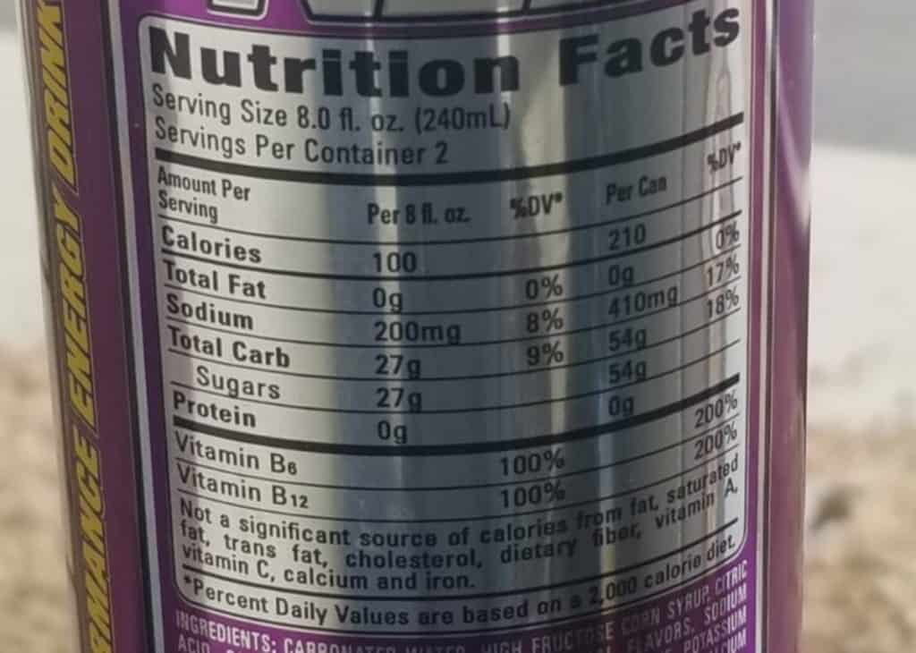 NOS GT Grape Nutrition label