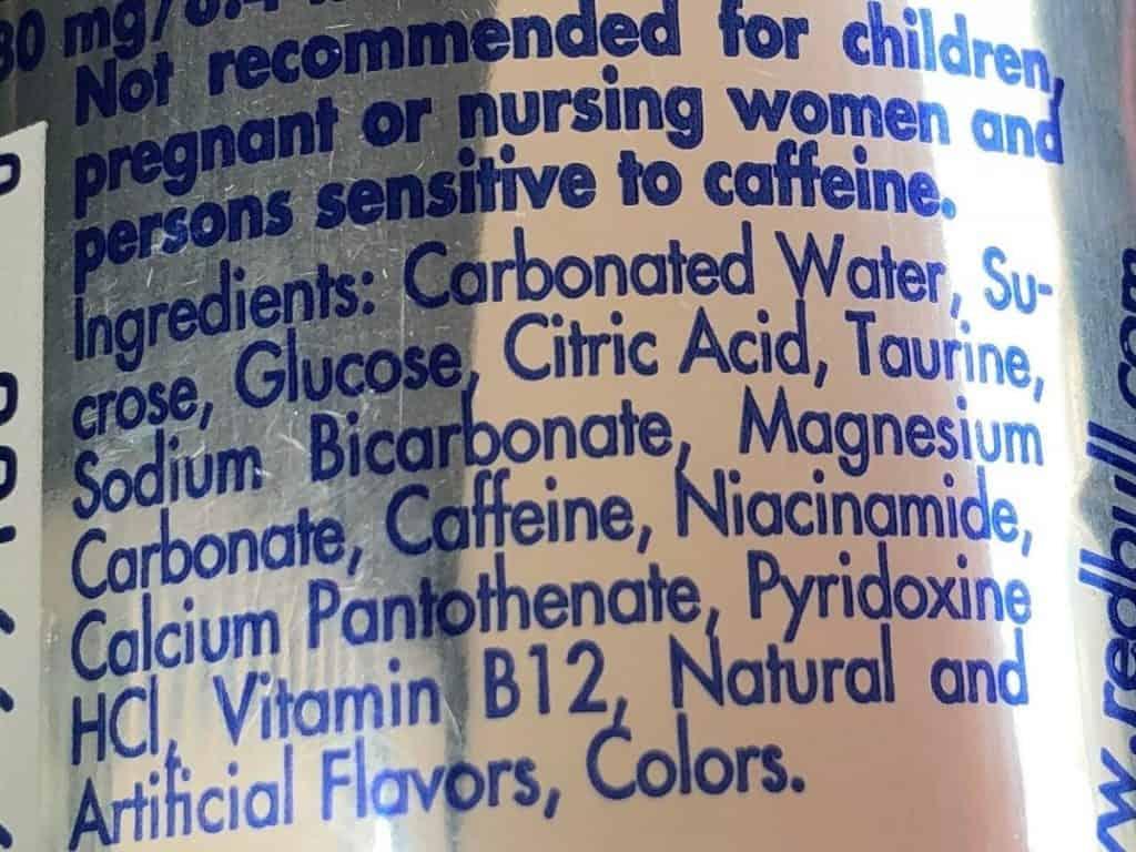 Red Bull Ingredients List.
