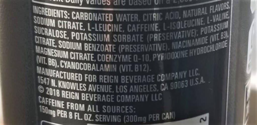 Reign Energy Drink ingredients.