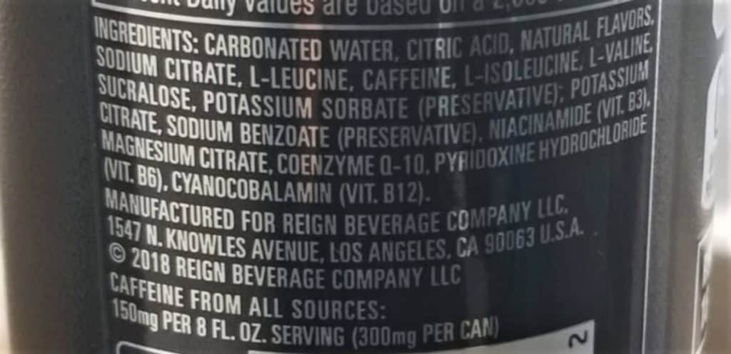 List of Ingredients for Reign