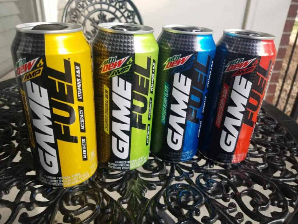 Four cans of Game Fuel