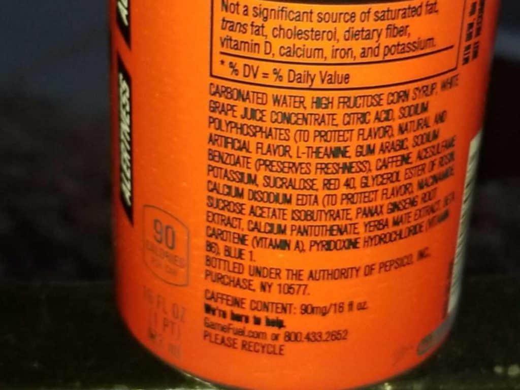 Ingredients of Game Fuel energy drink