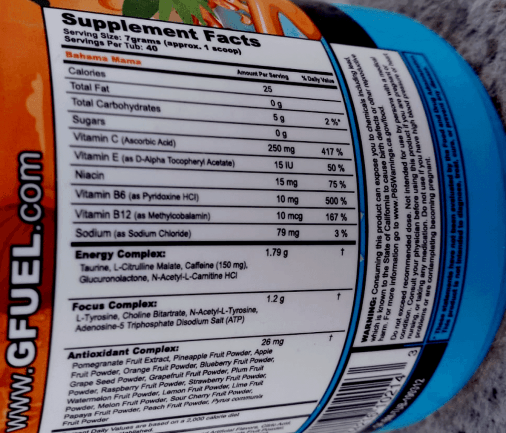 G Fuel Bahama Mama Flavor Nutrition Facts