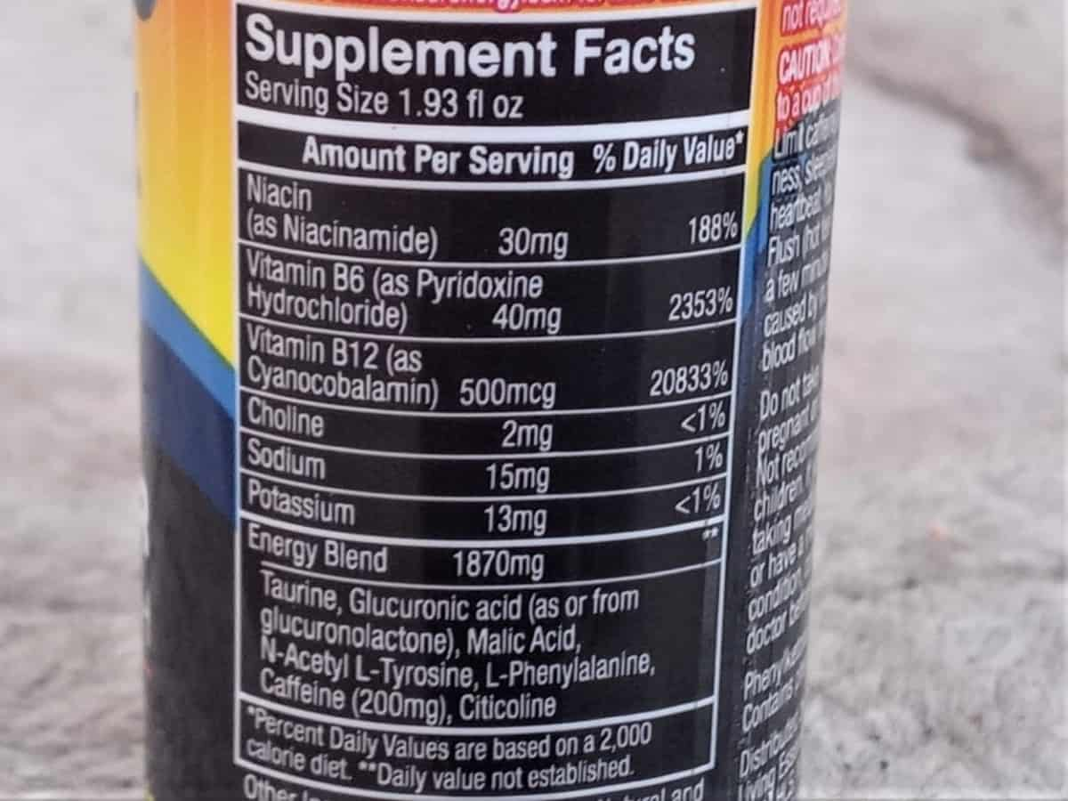 5 Hour Nutrition Facts