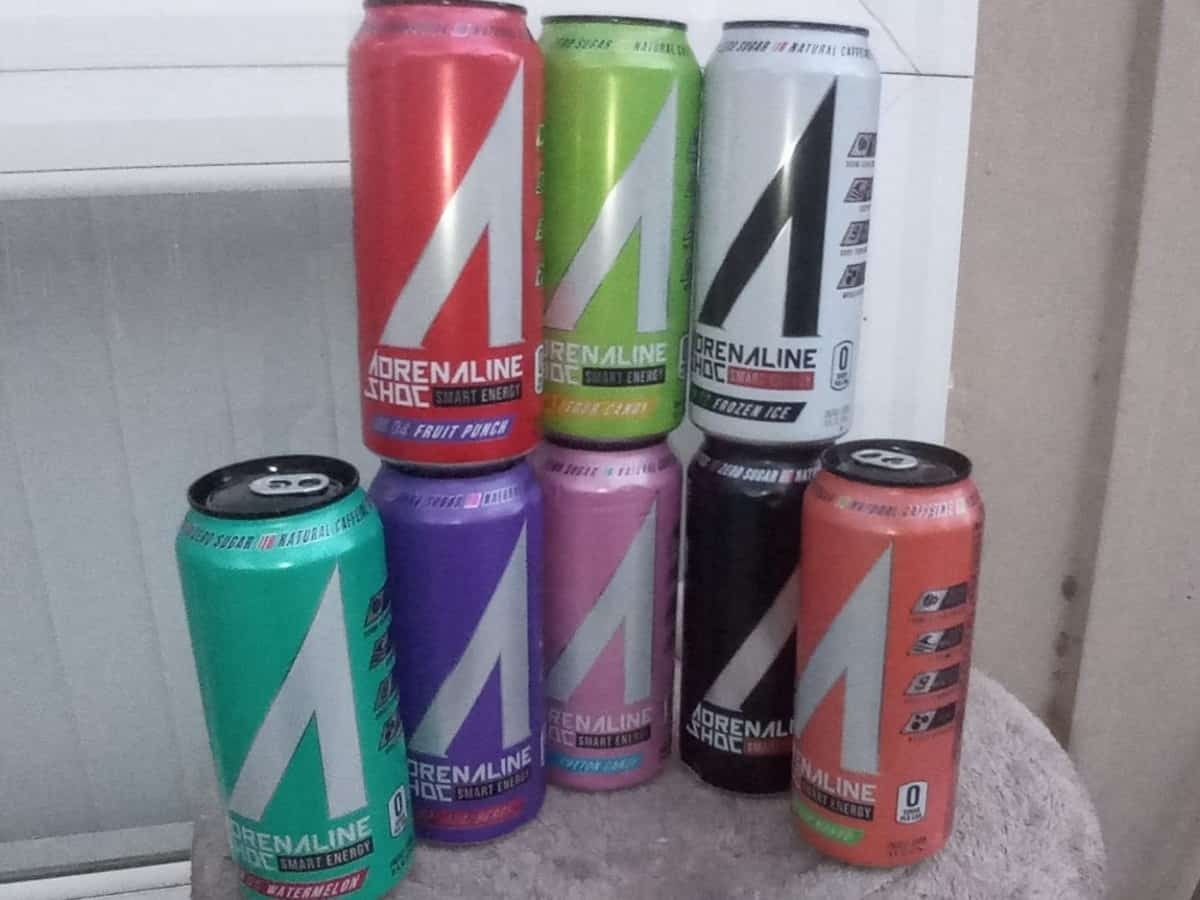 8 cans of Adrenaline Energy