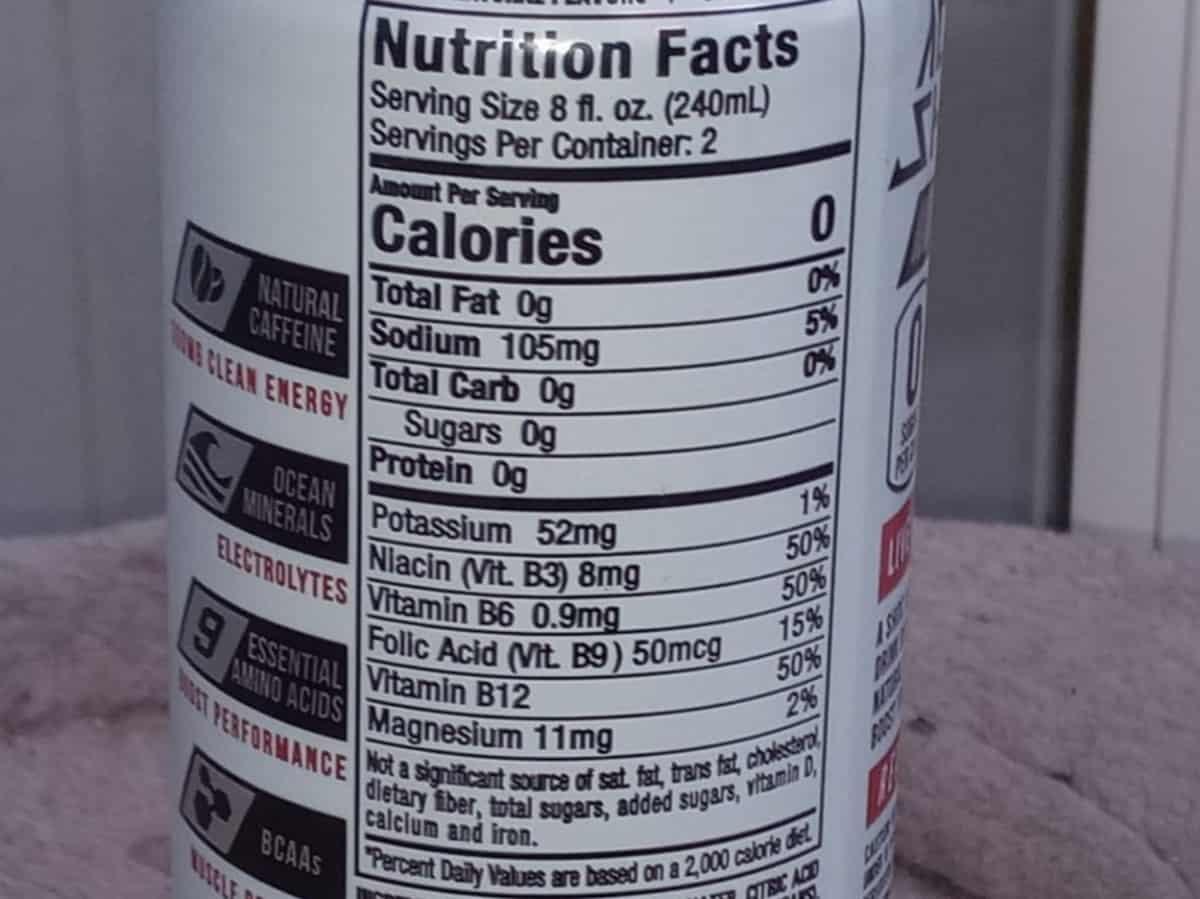 Adrenaline Shoc Nutrition Facts