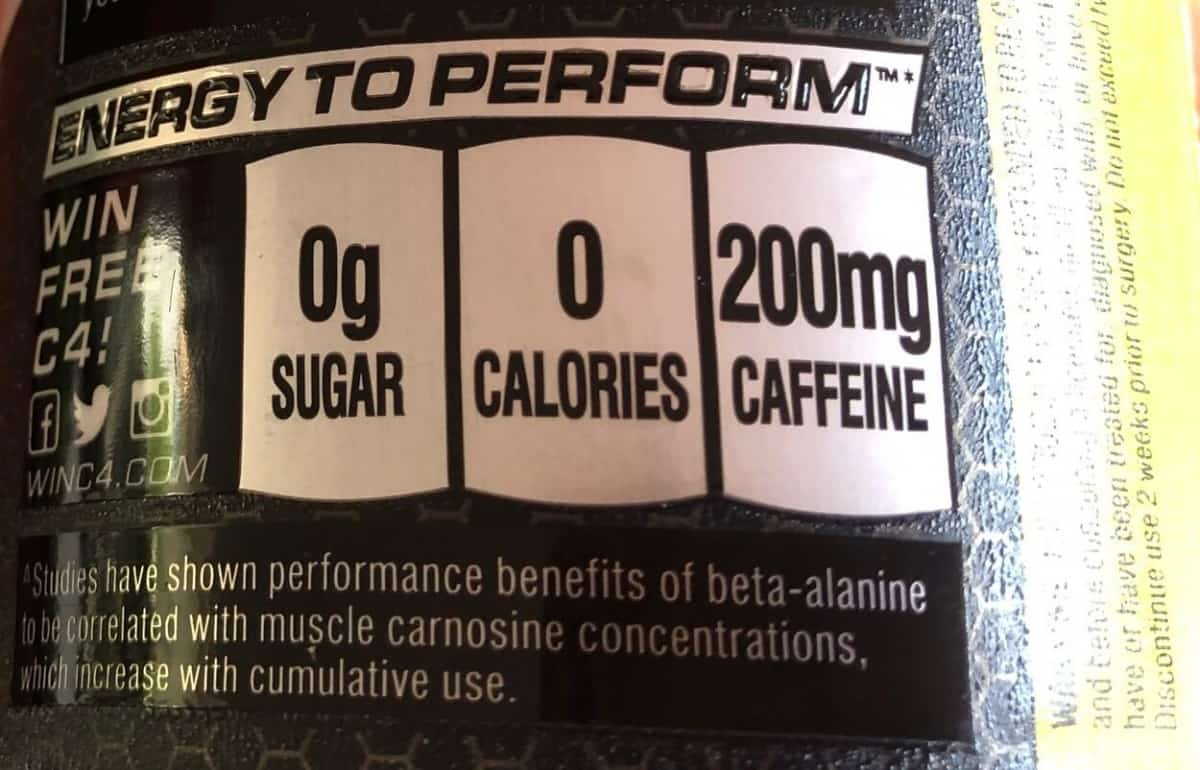 Caffeine label of C4 Energy