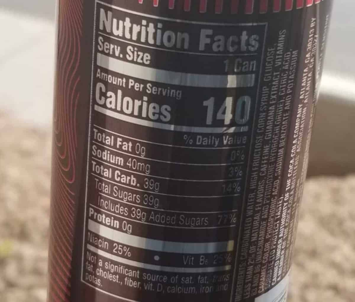 Nutrition facts label of Coca-Cola Energy drink