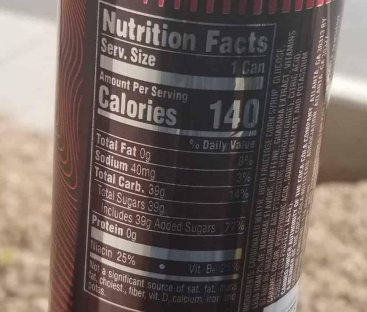 Coca-Cola Energy nutrition facts label