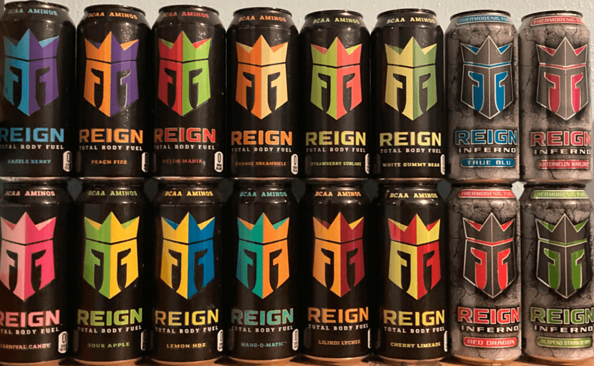 Group of Reign energy drinks