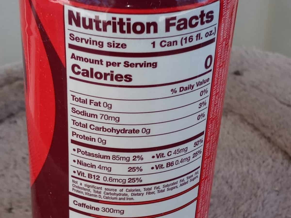 G Fuel Can Nutrition Facts