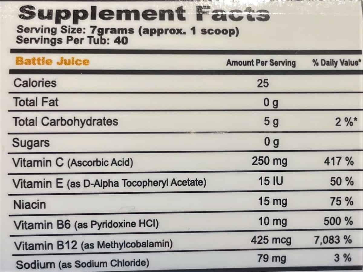 G Fuel Battle Juice Nutrition Facts
