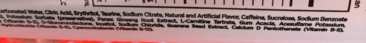 G Fuel Ingredients