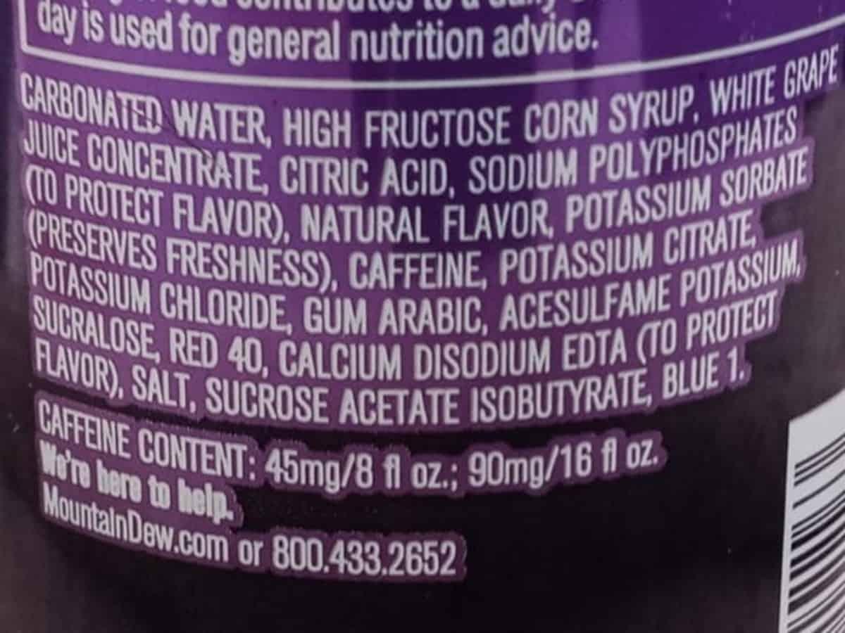Mountain Dew Kickstart Energy Drink Ingredients